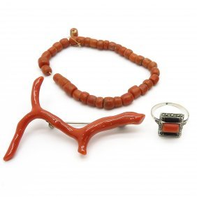 Diverse Lot of Red Coral Jewelry