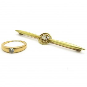 Bar Pin and Ring Set with Diamonds