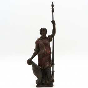 Carved Wood Polychrome Decor Warrior Sculpture