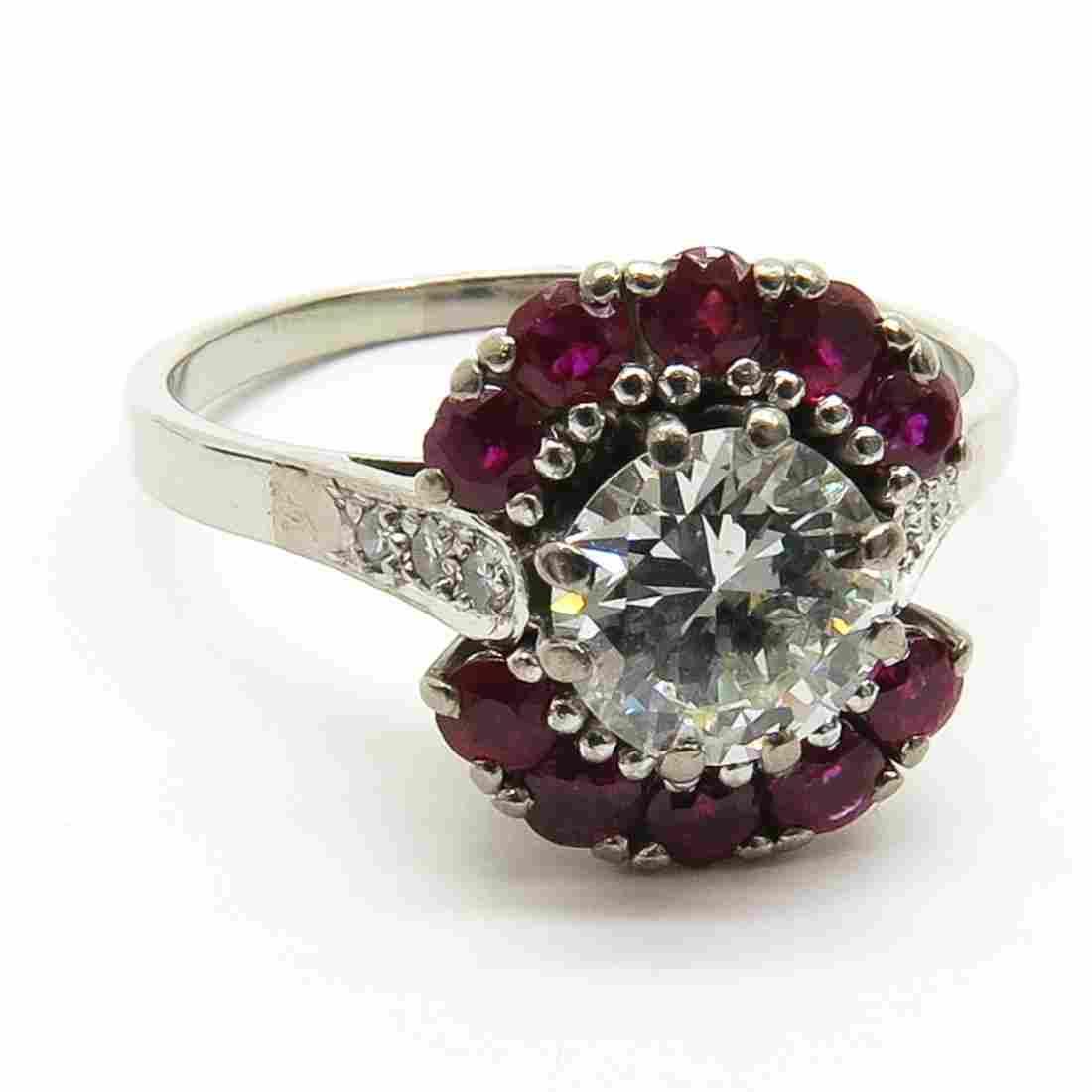 18KWG Ladies Diamond and Ruby Ring
