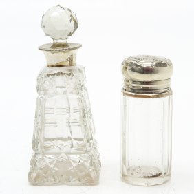 Lot of 2 Crystal Bottles with Silver Mountings