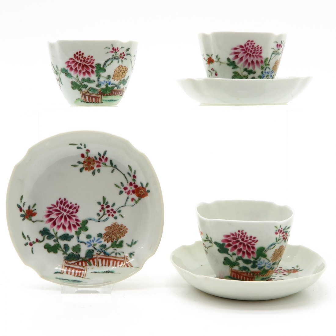 Lot of 3 18th Century China Porcelain Cups and Saucers