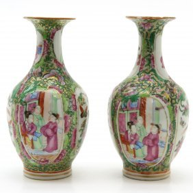 Pair of 19th Century China Porcelain Cantonese Vases