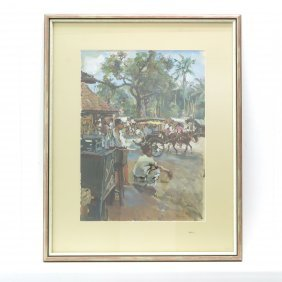 Signed Carl Fahringer Indonesian Pastel Painting
