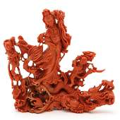 Chinese Carved Red Coral Sculpture