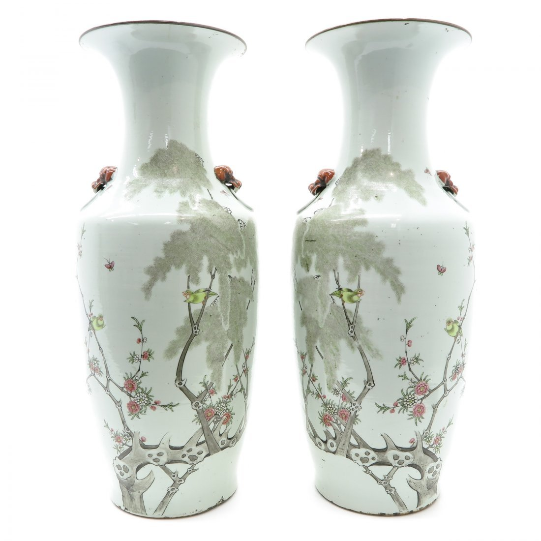 Pair of Polychrome Decor China Porcelain Vases