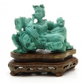 Chinese Sculpture on Wood Base