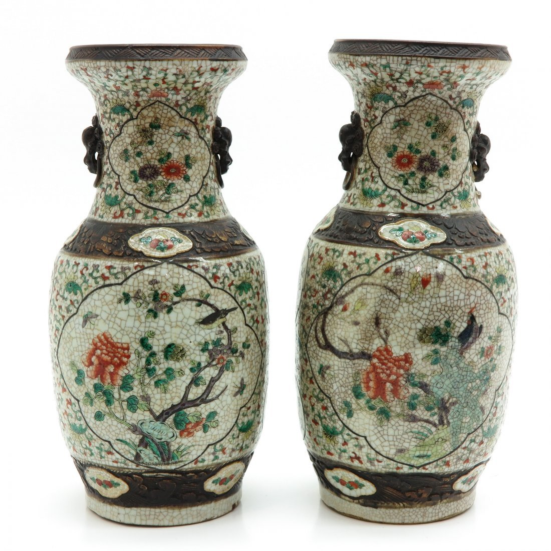 Lot of 2 China Porcelain Nanking Vases