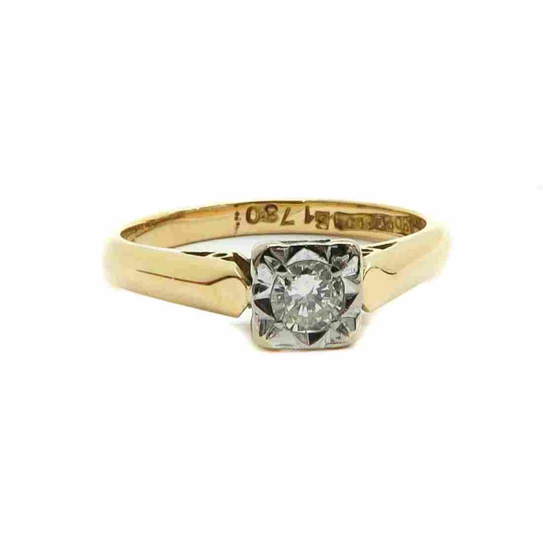 18KG Ladies Diamond Solitaire Ring