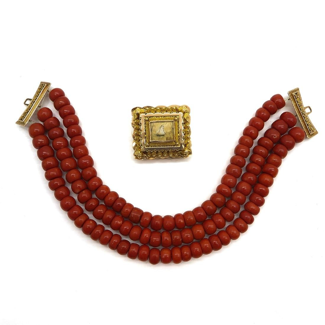 Deep Red 19th Century 3 Strand Red Coral Necklace