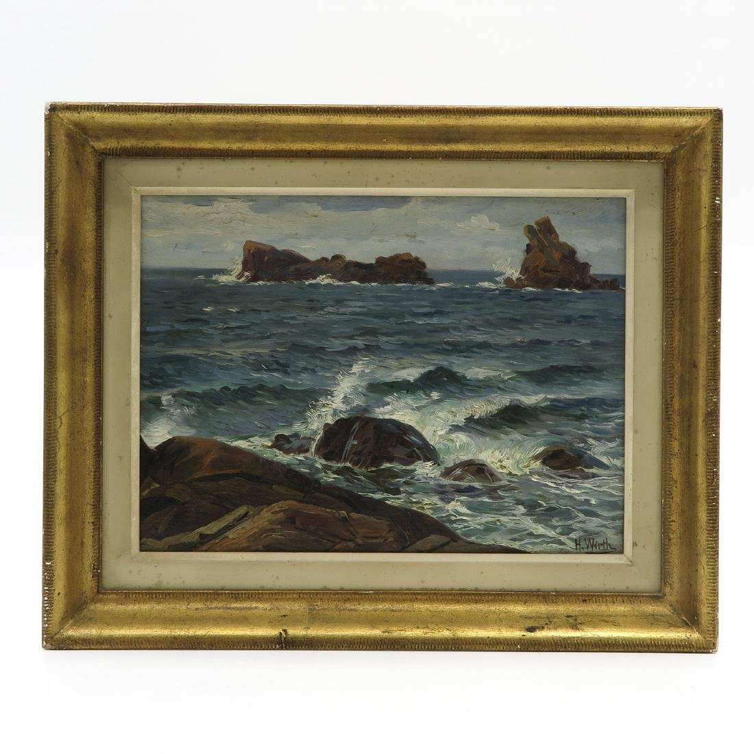 Oil on Panel Signed H. Wirth