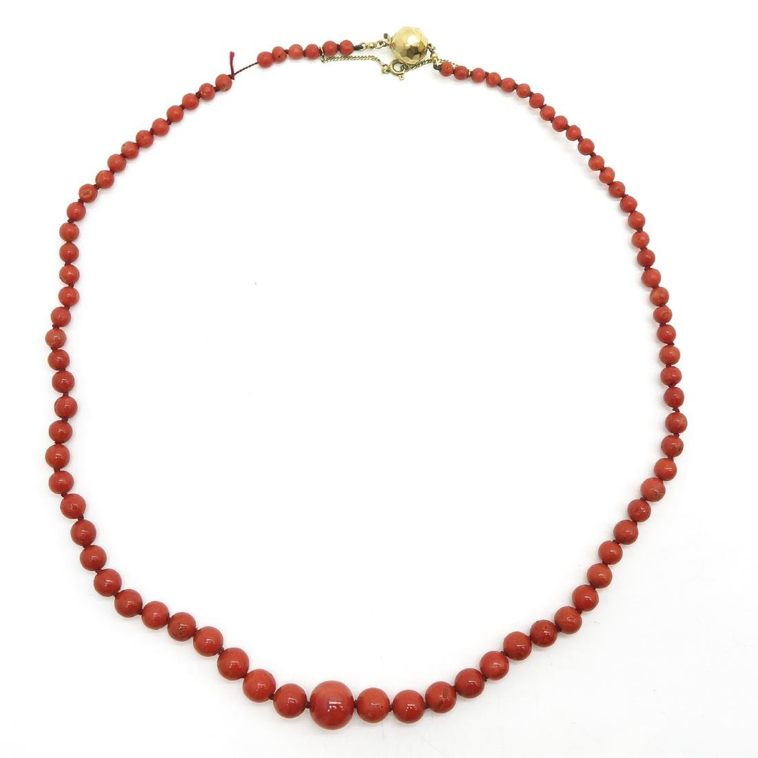 Red Coral Necklace on 14KG Clasp