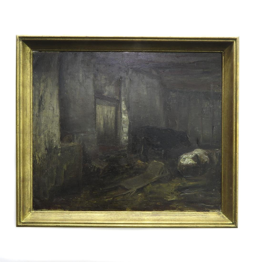 Oil on Canvas Depicting Barn Interior