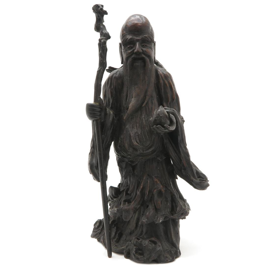 Carved Wood Chinese God of Longevity