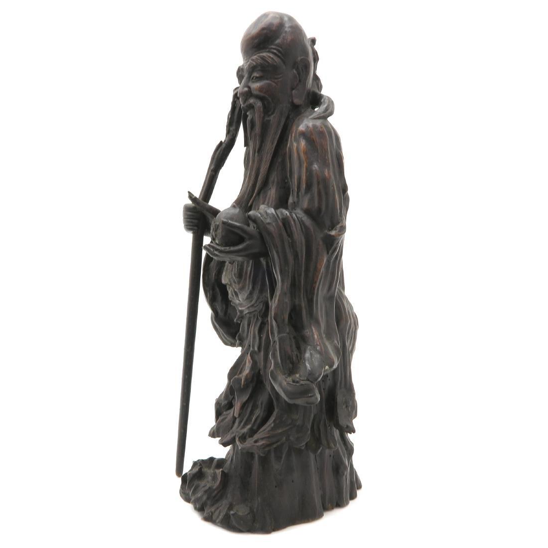Carved Wood Chinese God of Longevity - 2