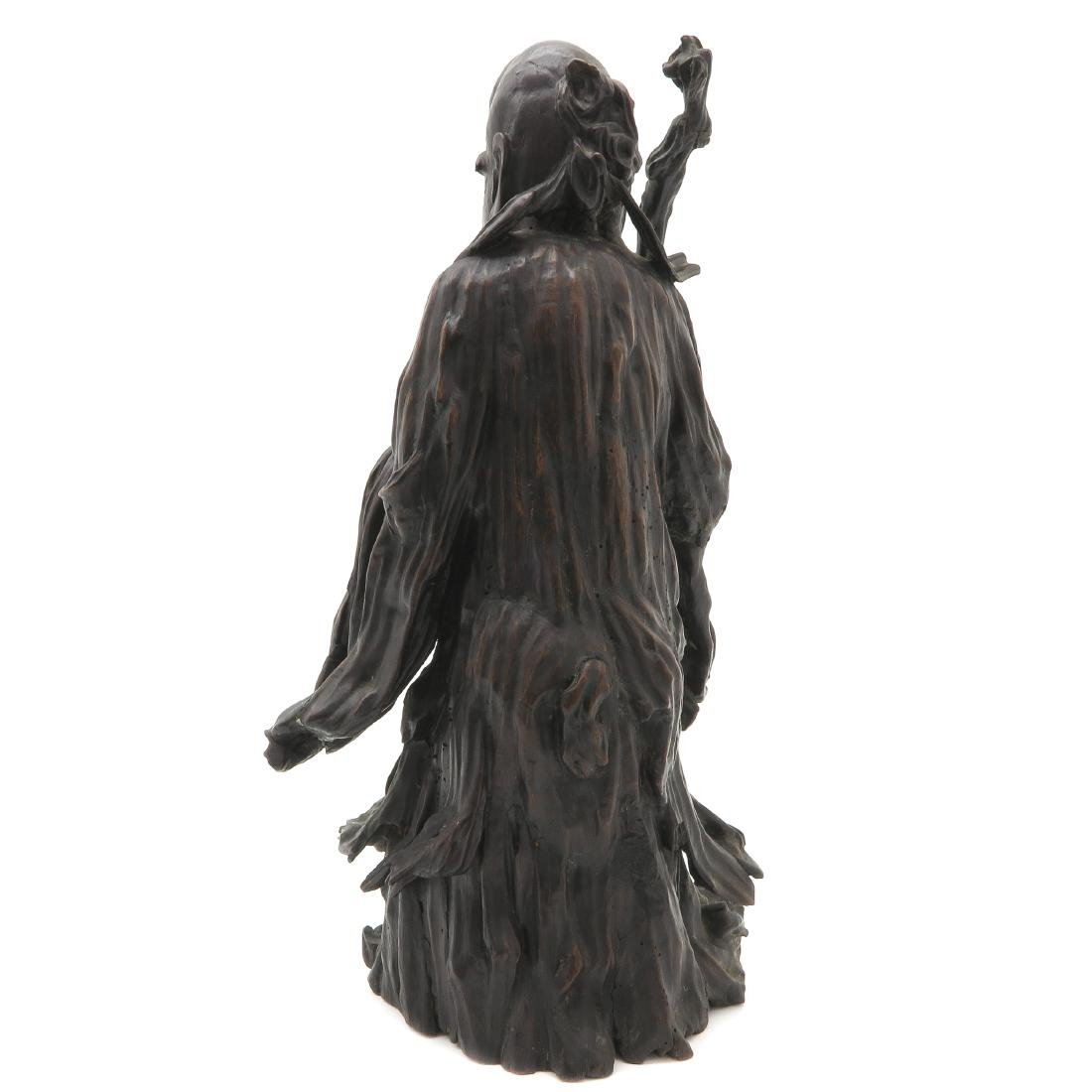 Carved Wood Chinese God of Longevity - 3