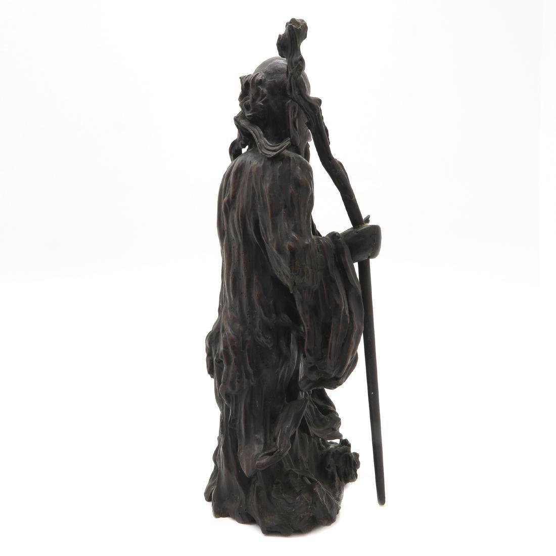 Carved Wood Chinese God of Longevity - 4