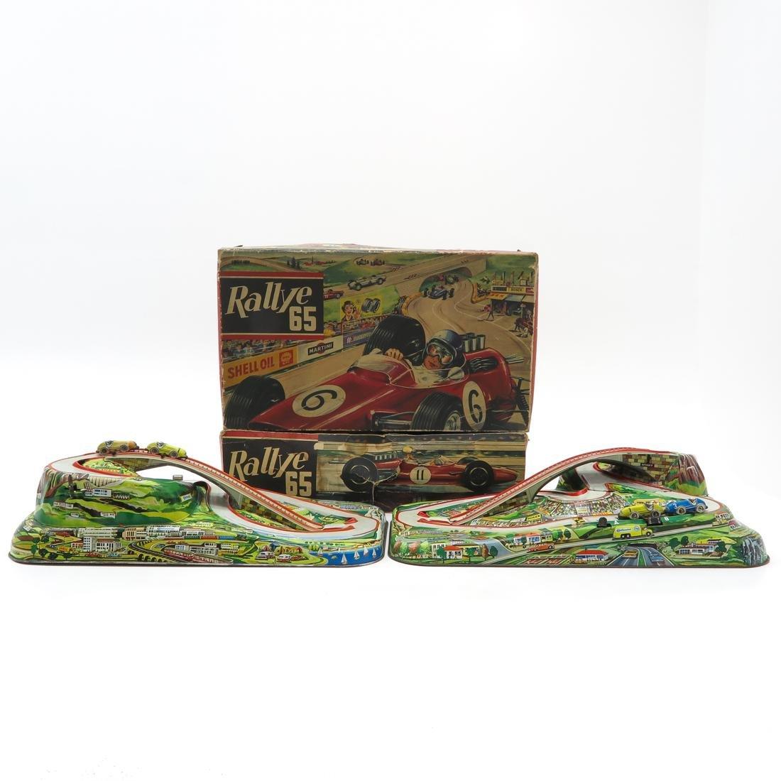 Lot of 2 Vintage Rallye 65 Tin Racetracks