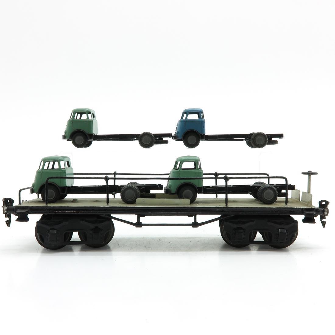 Vintage Marklin Car Carrier Wagon with 4 Trucks