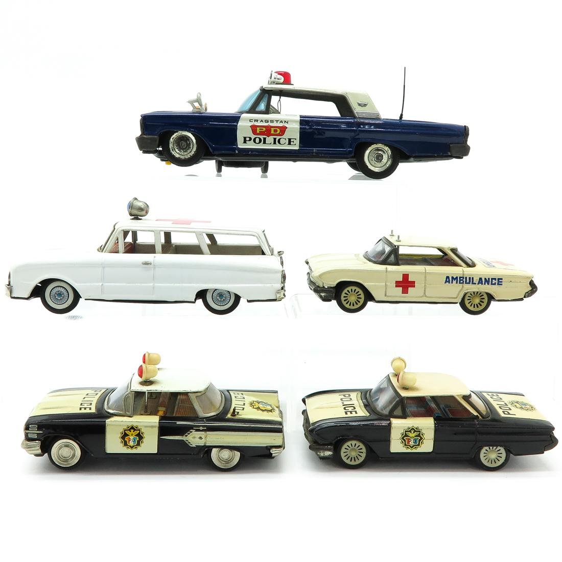 Lot of 5 Vintage Toy Police and Ambulance Cars