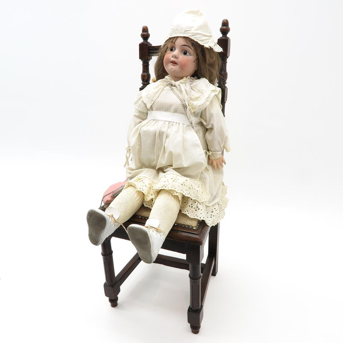 Antique Doll and Chair - 3