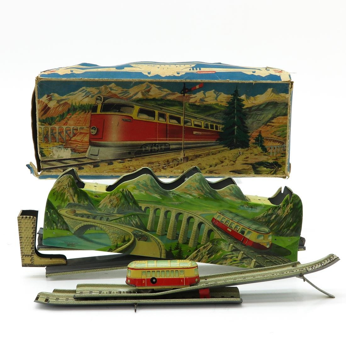Vintage Tehnofix Albulabaan Tin Train in Box