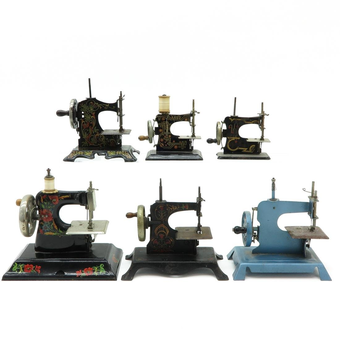 Lot of 6 Vintage Toy Sewing Machines