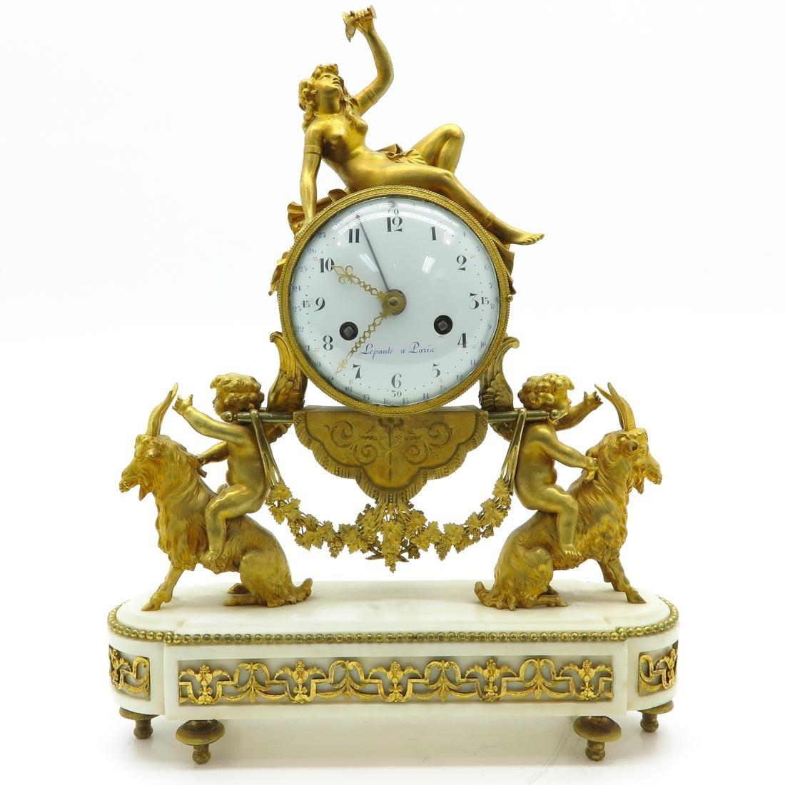 French Louis XVI Period Pendule Signed Le Poute a Paris