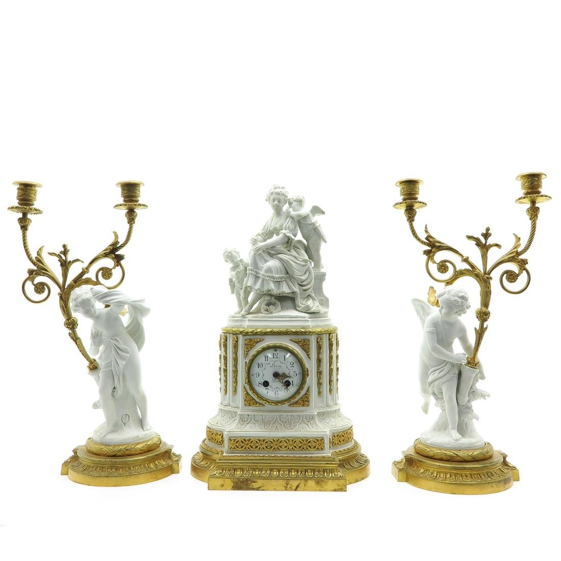 19th Century 3 Piece French Bisque Clock Set