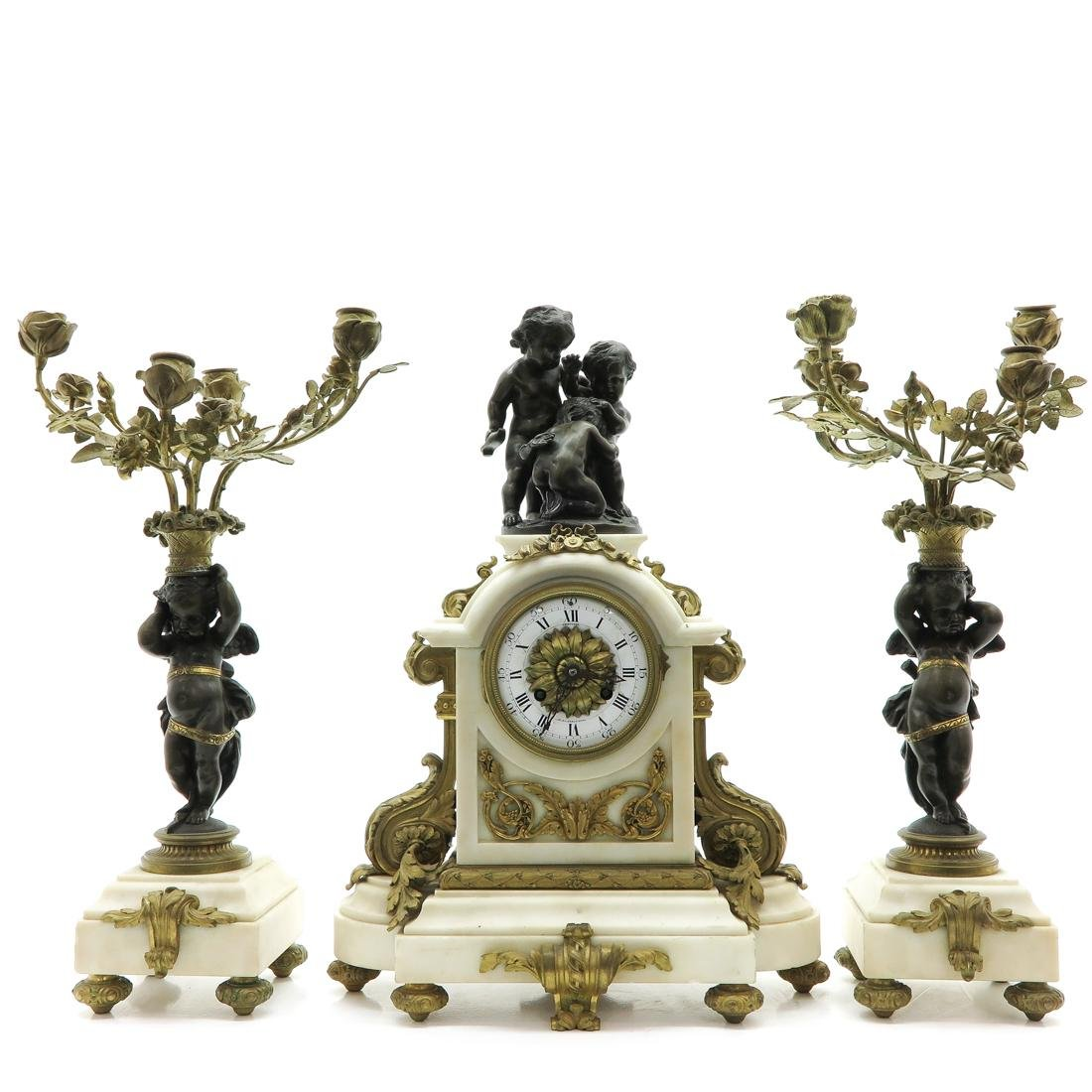 French 19th Century 3 Piece French Clock Set