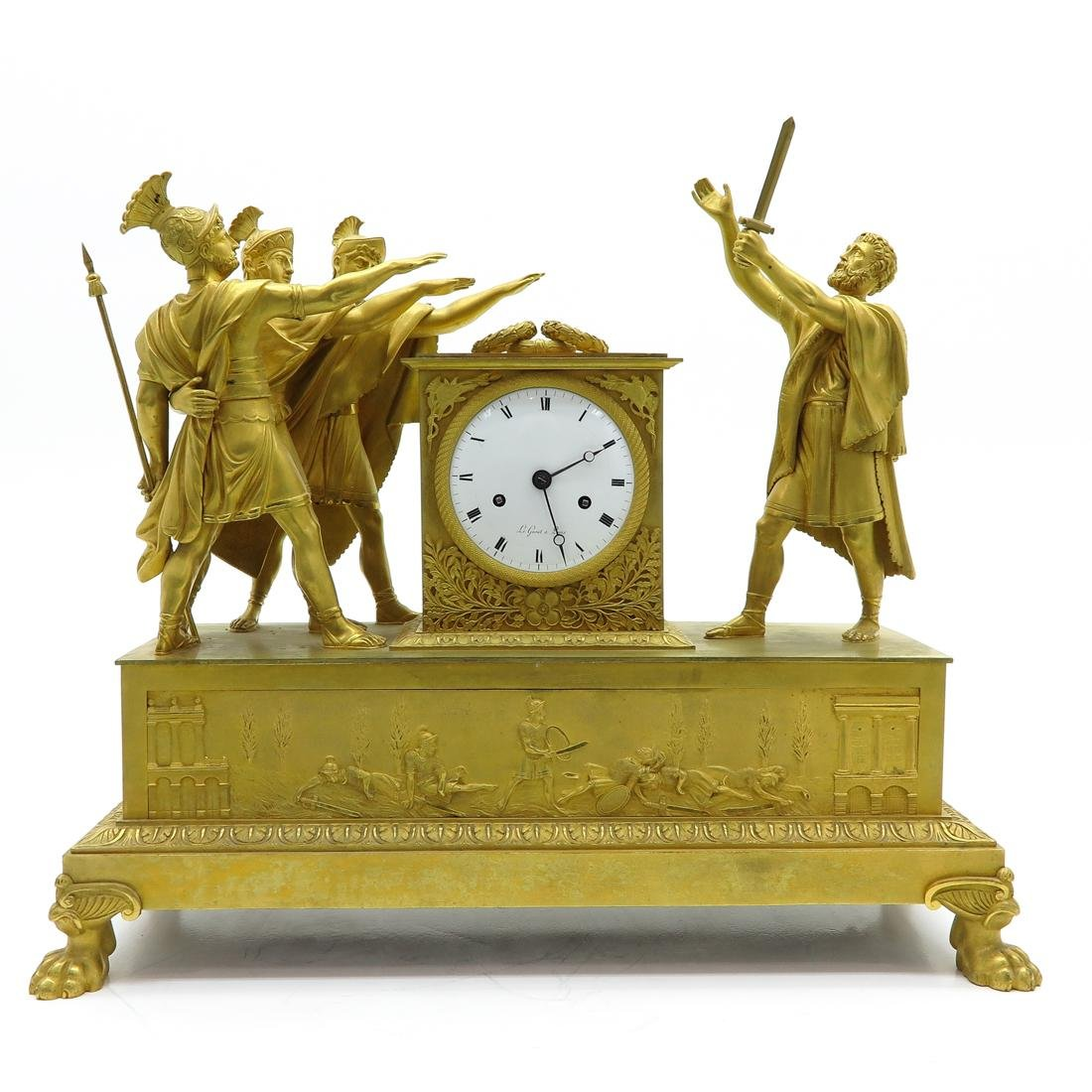 French Pendule Ca. 1800 Depicting The Oath of Horatius