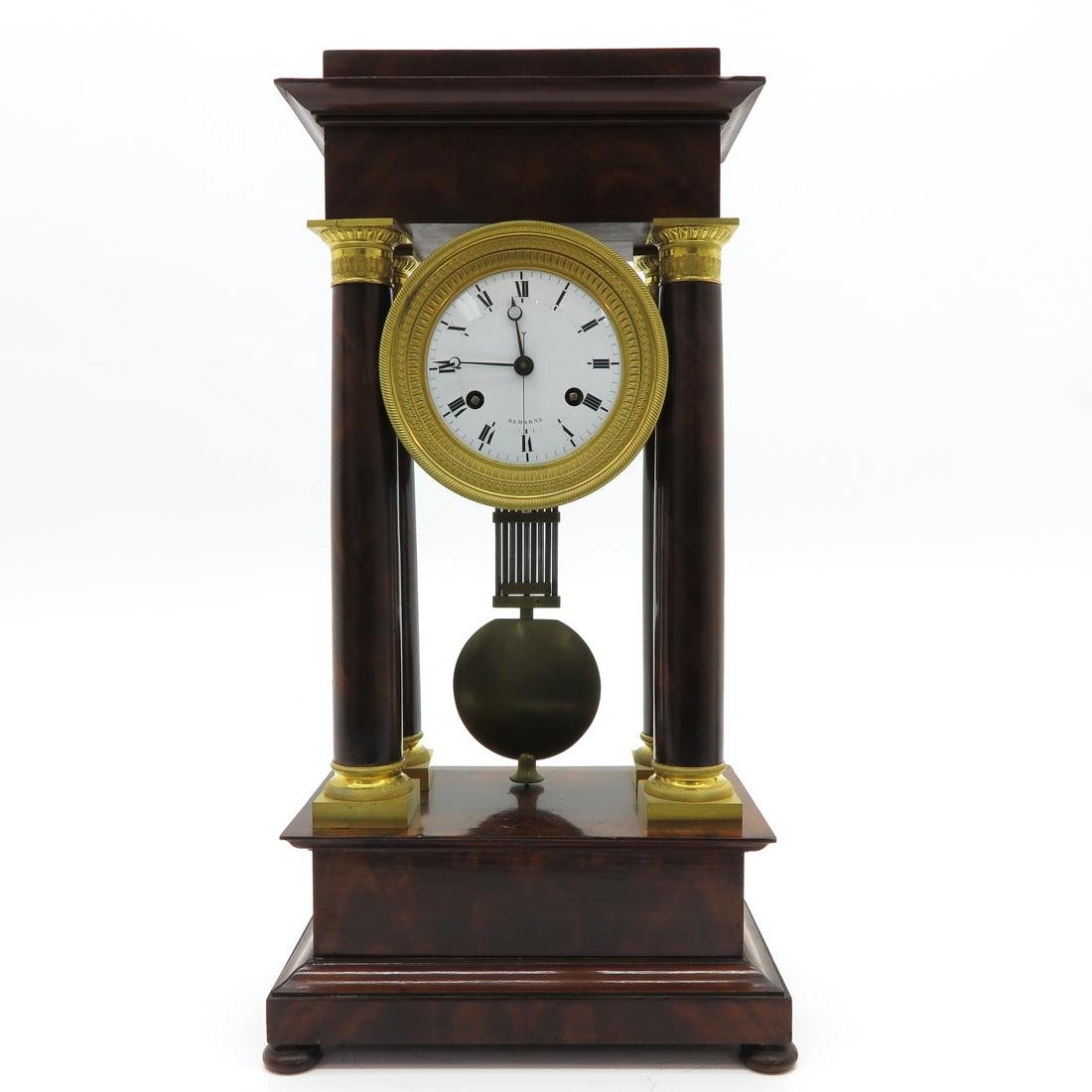 French Empire Column Clock Signed Demarne