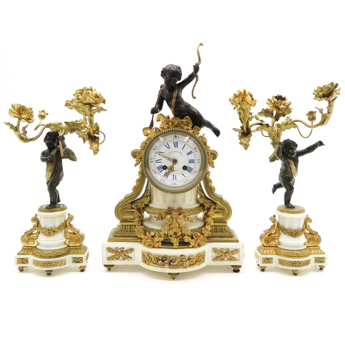 19th Century French 3 Piece Clock Set Signed Montargis