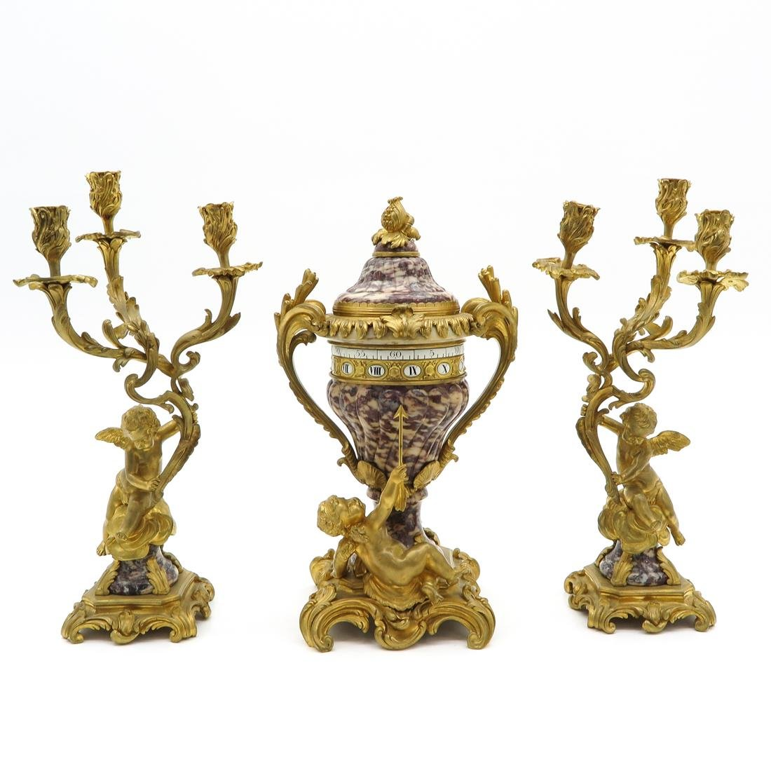 19th Century French 3 Piece Clock Set