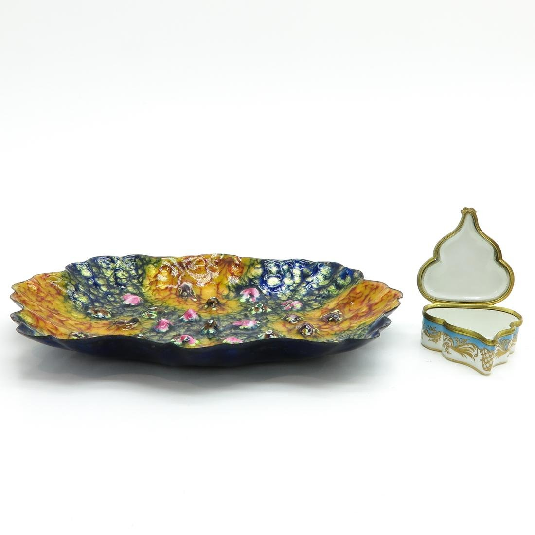 Small Jewelry Box and Enameled Plate