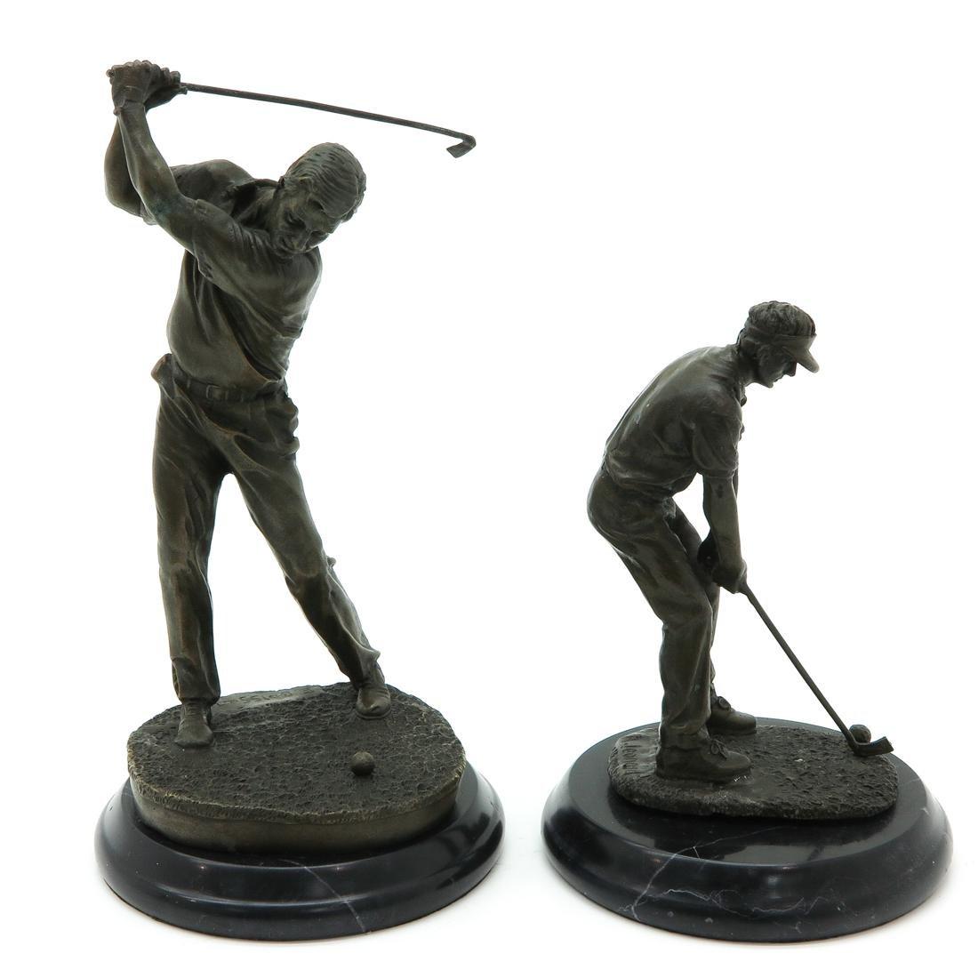 Lot of 2 Bronze Sculptures Depicting Golfers