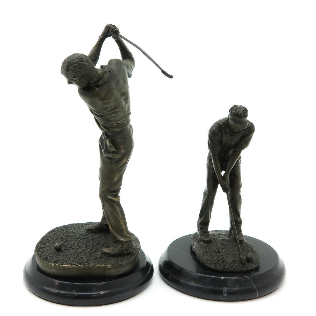 Lot of 2 Bronze Sculptures Depicting Golfers - 2