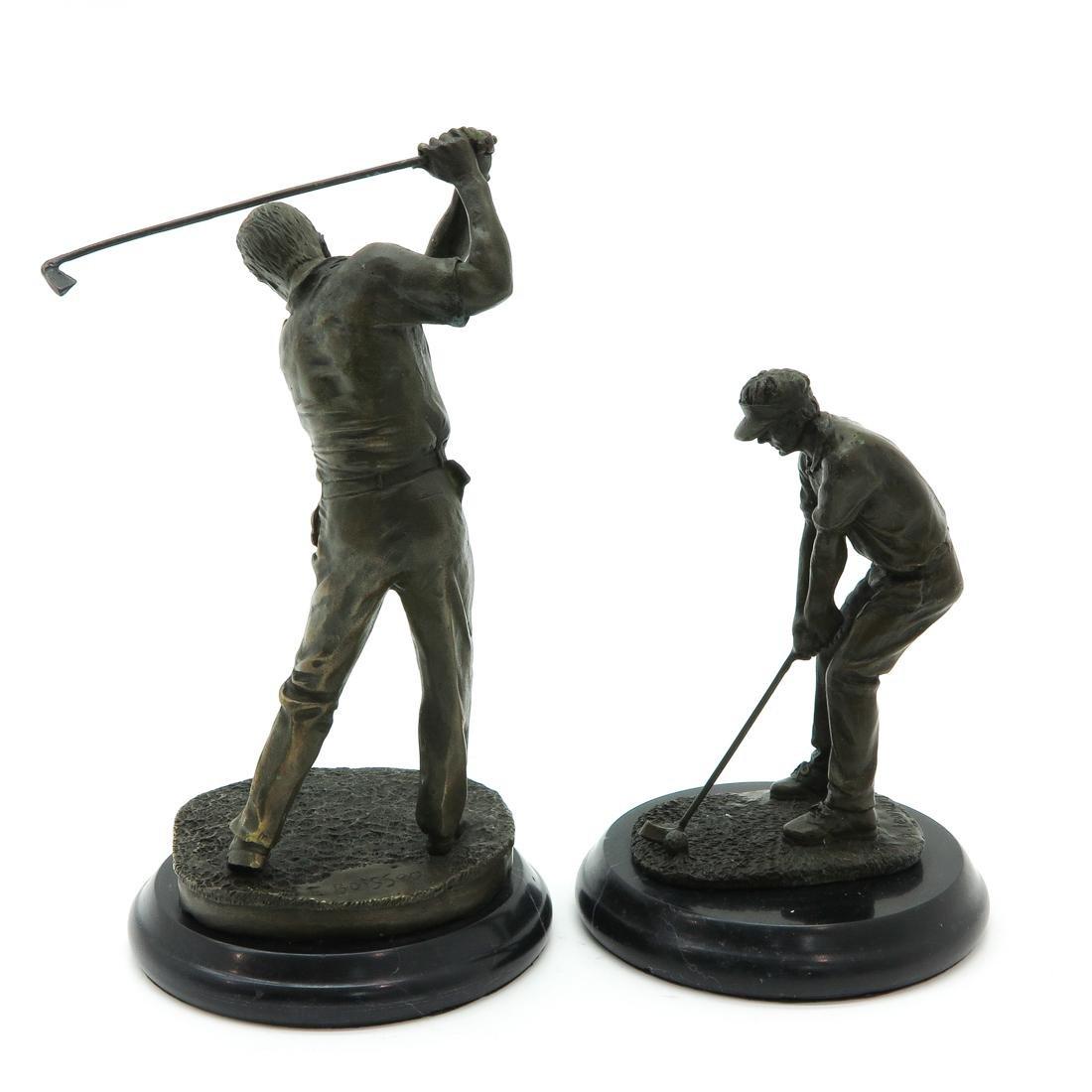 Lot of 2 Bronze Sculptures Depicting Golfers - 3