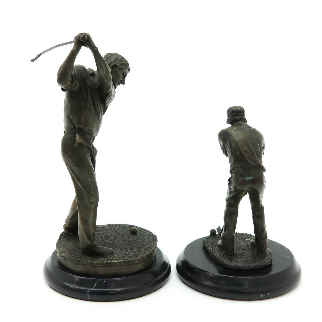 Lot of 2 Bronze Sculptures Depicting Golfers - 4