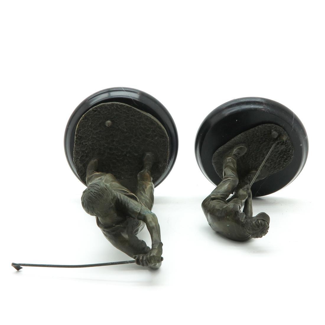 Lot of 2 Bronze Sculptures Depicting Golfers - 5