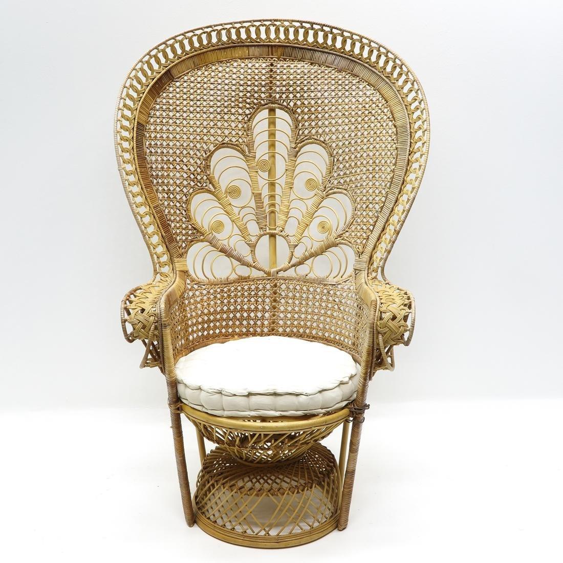Wicker Peacock Back Chair