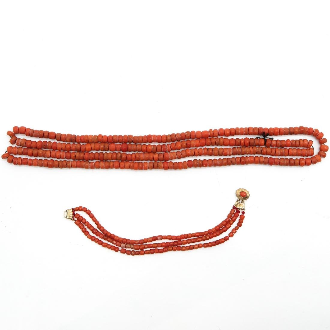 19th Century Red Coral Bracelet and Necklace