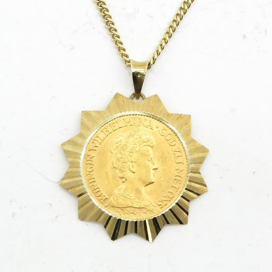 14KG Necklace with Gold Ten Guilder