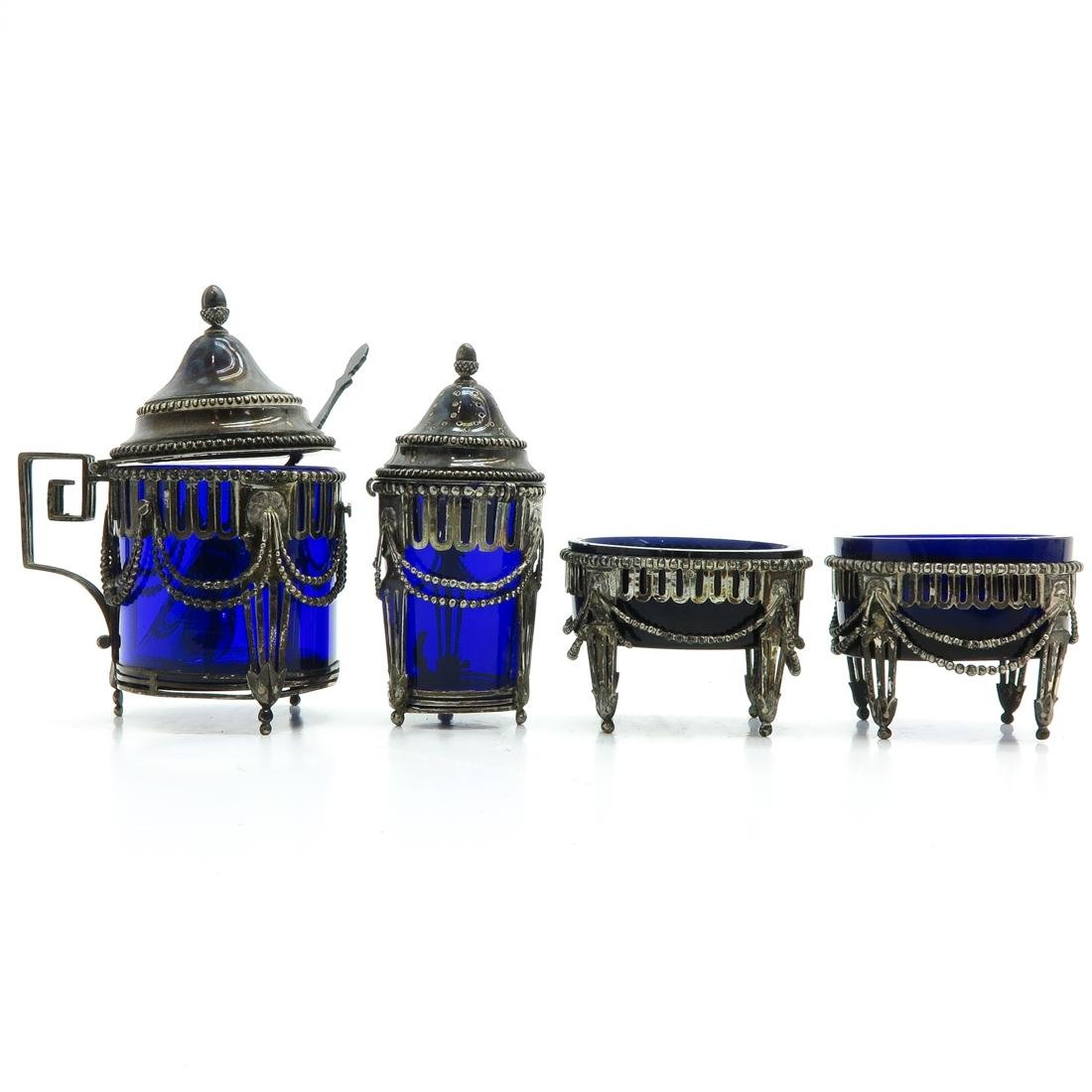 Dutch Silver and Cobalt Blue Glass Condiment Servers