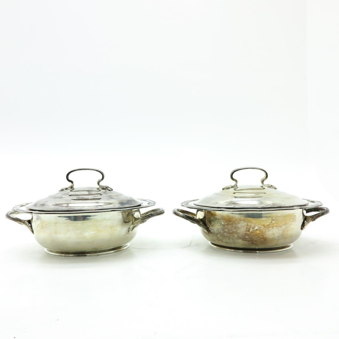 Lot of 2 Silver Wolfers Covered Serving Dishes