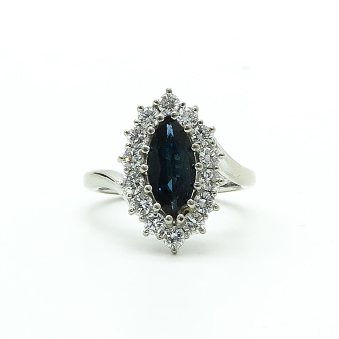18KWG Ladies Diamond & Sapphire Ring