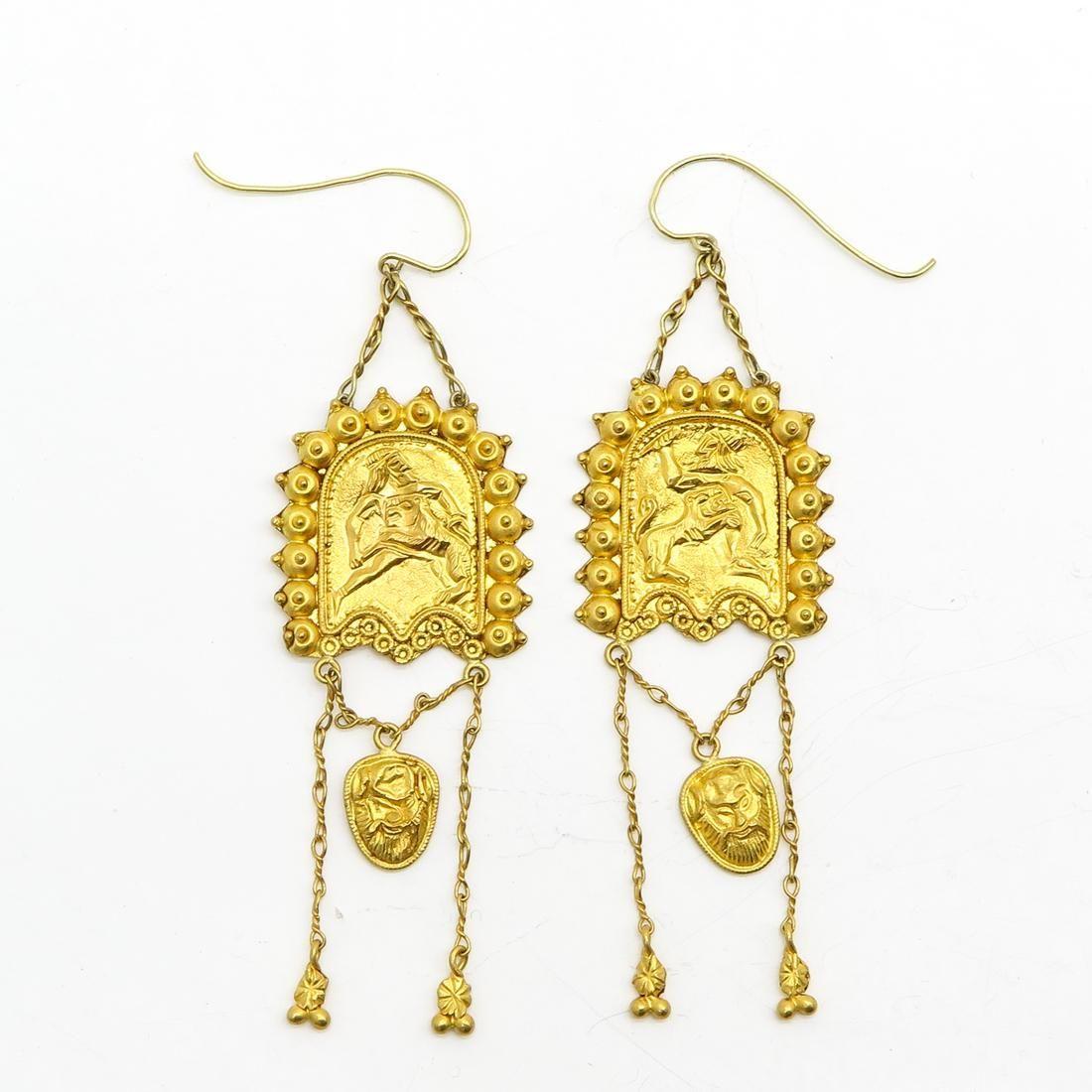 A Beautiful Pair of 18KG Etruscan Earrings