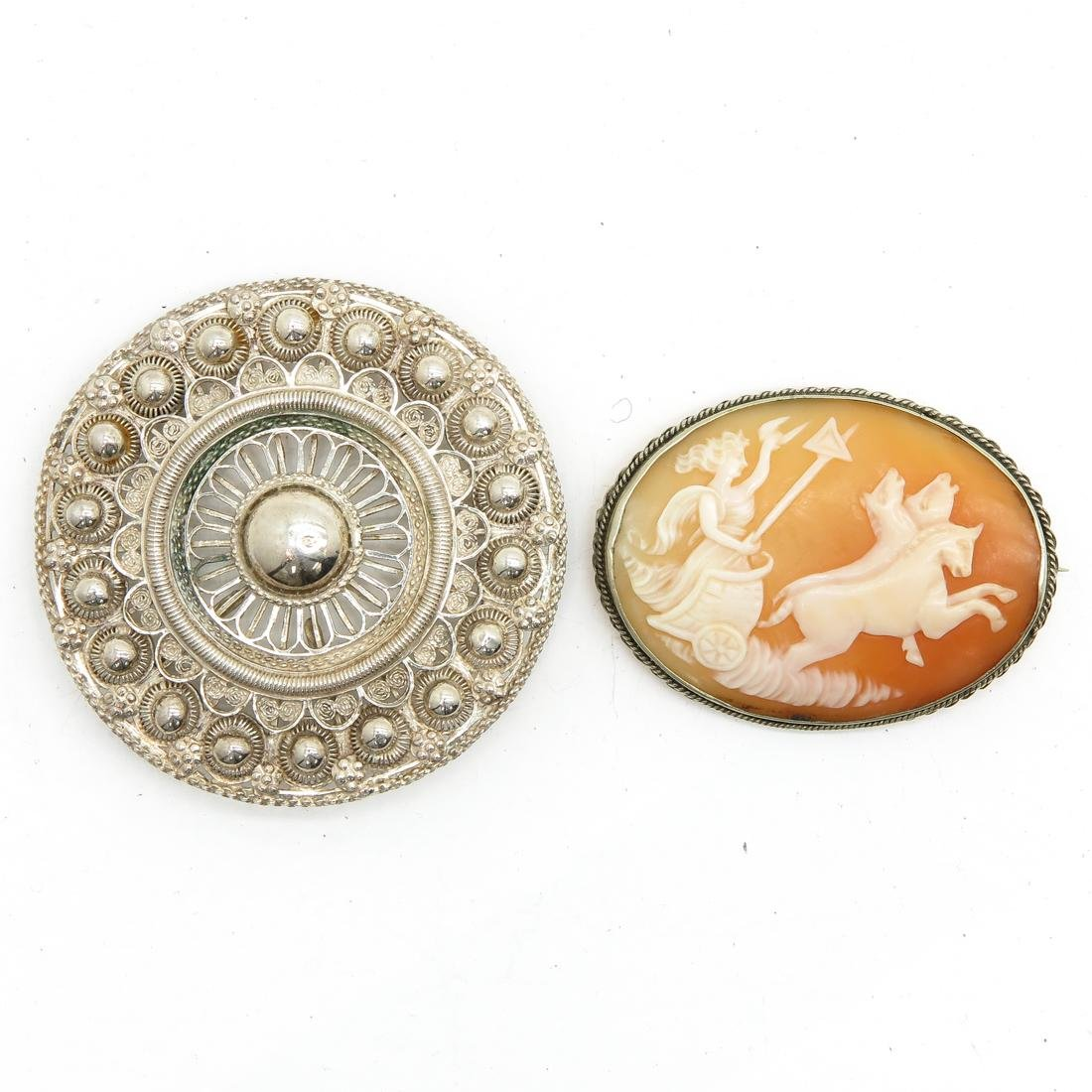 Oval Cameo Brooch and Large Silver Zeeuwse Brooch