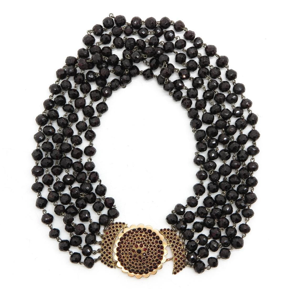 6 Strand Garnet Necklace on 14KG Clasp