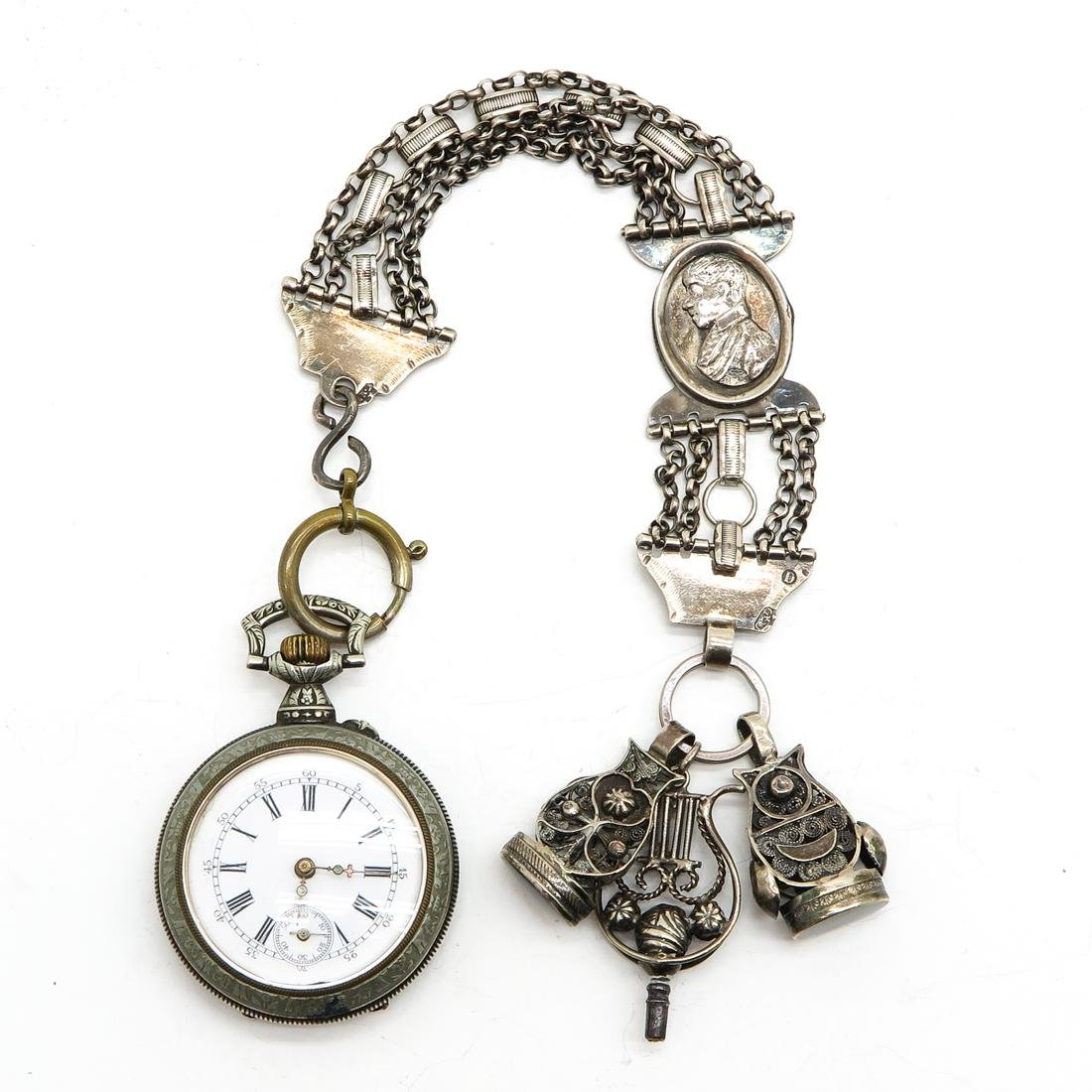 Pocket Watch with Chain and Fobs